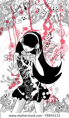 hand-drawn asian girl and doodles - stock vector