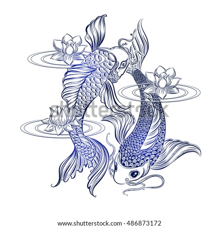 Hand drawn Asian spiritual symbols - koi carp with lotus and waves. It can be used for tattoo and embossing or coloring