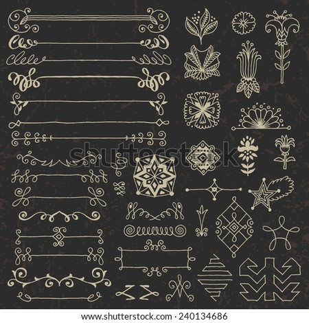 Hand drawn assorted design elements set 2 on dark. Vector illustration. - stock vector