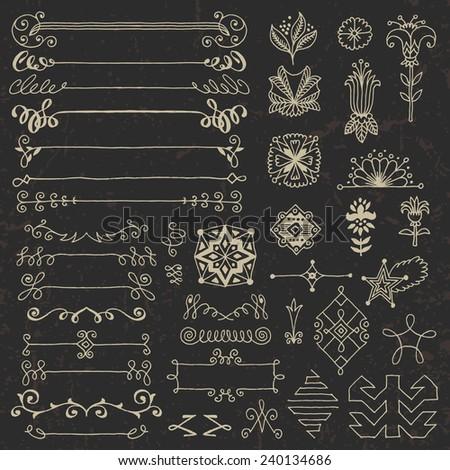 Hand drawn assorted design elements set 2 on dark. Vector illustration. - stock vector