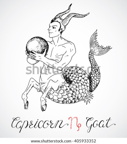 Hand drawn astrological zodiac sign Capricorn or Goat. Line art vector illustration of engraved horoscope symbol. Fantasy style. Doodle drawing and sketch with calligraphic lettering - stock vector