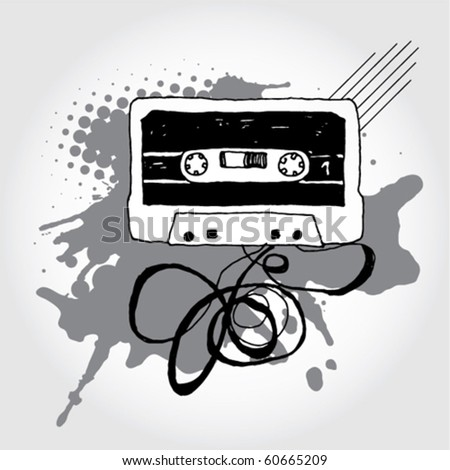 Hand Drawn Audio Cassette - stock vector