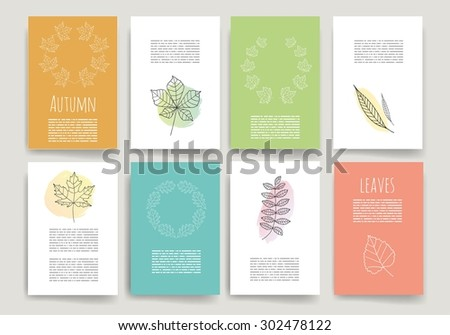 Hand drawn autumn cards.Doodle set. Invitation. Leaves Posters set. Minimalistic and stylish card design. Autumn template. Vector illustration. - stock vector