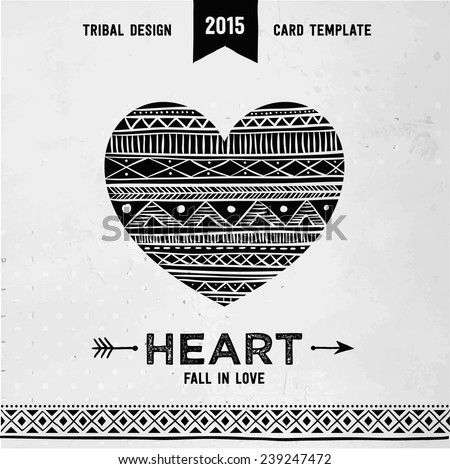 Hand drawn aztec style heart. Tribal design invitation card template. Vector illustration. - stock vector