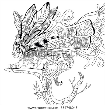 Hand Drawn Aztec Tiger Adult Coloring Book Page Isolated On White