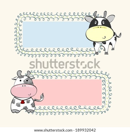 hand drawn baby banners with farm animals