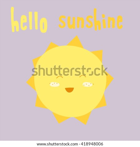 Hand-drawn baby cute vector sun postcard print with letters. Design elements. Doodle hand drawn style illustration for greeting card, t-shirts and bags print, scrapbooking - stock vector