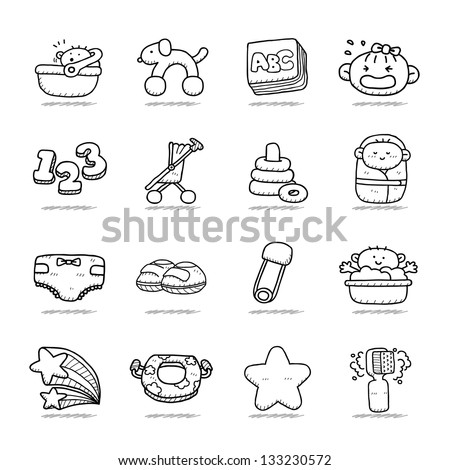 Hand drawn Baby icon set