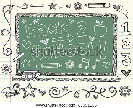 Hand-Drawn Back to School Chalkboard / Blackboard Sketchy Notebook Doodles with Lettering, Apple, Pencil & Music Notes. Vector Illustration Design Elements on Lined Sketchbook Paper Background - stock vector