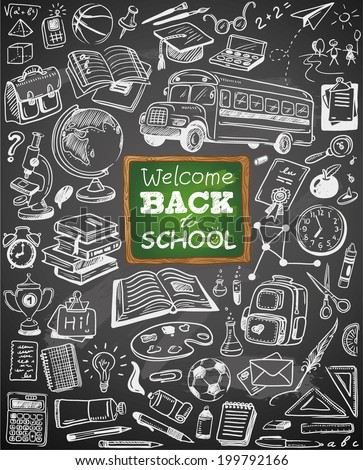 hand-drawn back to school collection on chalkboard - stock vector