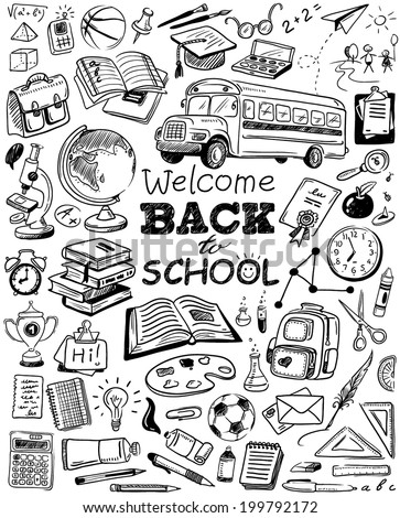 hand-drawn back to school doodles - stock vector