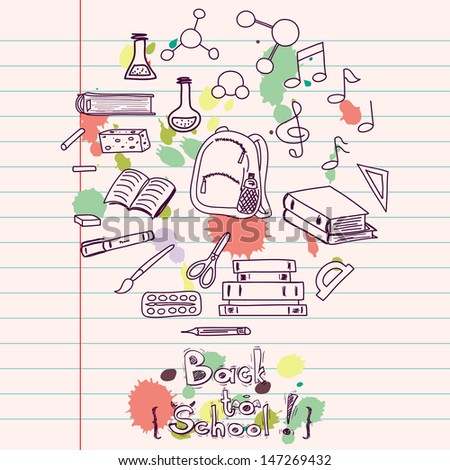 Hand drawn back to school doodles with school utensils. Design elements on lined notebook paper. Sketched chalkboard, notes, books, paint, pencil, molecules. - stock vector