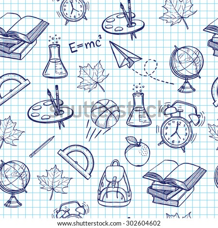 Hand drawn back to school seamless pattern. Books, backpack, bicycle, maple leaf, basketball, pencil, globe, apple, palette with brushes, paper plane, alarm clock, clip, lab flask.  - stock vector