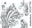 Hand-Drawn Back to School Starbursts, Swirls, Hearts, and Stars Sketchy Notebook Doodles Vector Illustration Design Elements on Lined Sketchbook Paper Background - stock vector