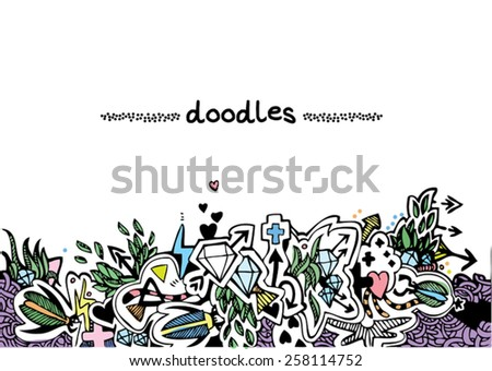 hand drawn background with doodles - stock vector