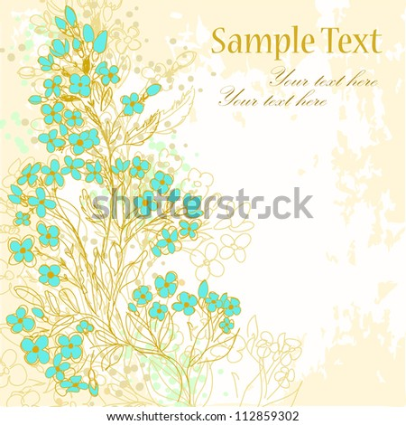 Hand drawn background with forget-me-not flowers - stock vector