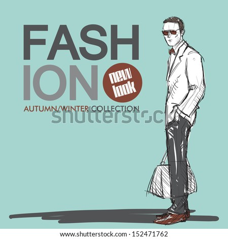 Hand drawn background with styish guy in sketch style. Vector illustration. - stock vector
