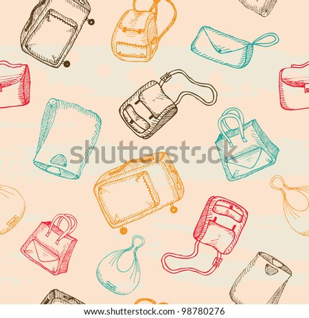 Hand-drawn bags pattern