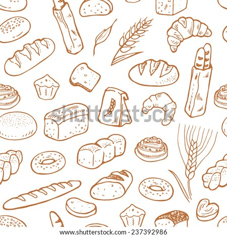 Hand drawn bakery on white background. Seamless pattern background. - stock vector