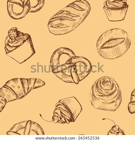 Hand drawn bakery products seamless pattern