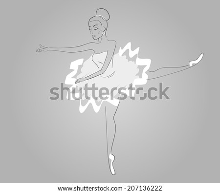 Hand drawn ballerina's wearing white dress - paths outlined