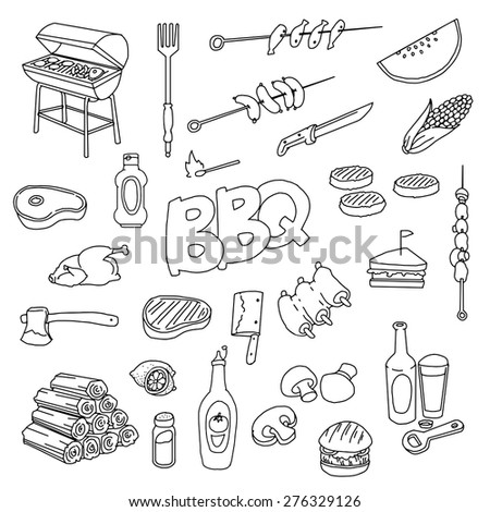 hand drawn barbecue related item set, vector illustration