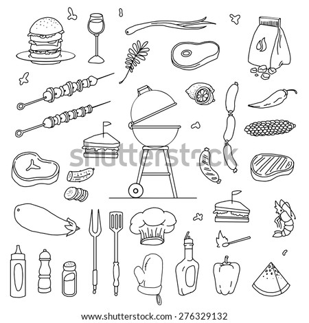 hand drawn barbecue related item set, vector illustration - stock vector