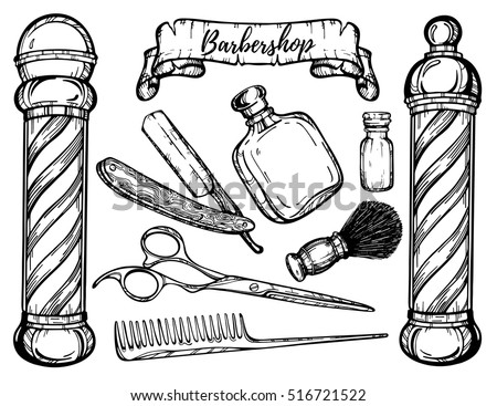 hand drawn barbershop vintage illustration straight stock vector