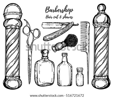 Hand drawn barbershop vintage illustration. Straight razor,scissors, comb, shaving brush. Hair cut and shaves. Perfect for tattoo, engraving for poster, label, banner, web  etc.