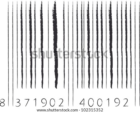 hand drawn barcode with black stroke - stock vector
