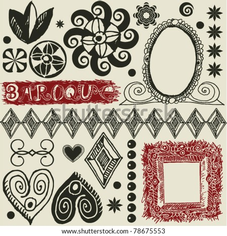 Decorative ornate borders stock vector 9131857 shutterstock for Baroque design elements