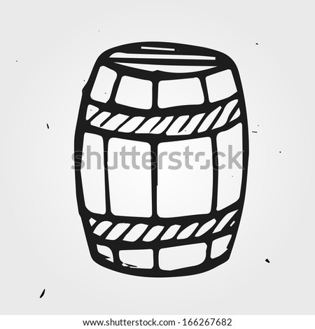 Hand drawn barrel, with wine or beer, isolated - stock vector