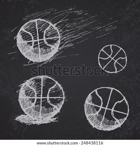 Hand drawn basketball ball sketch set on blackboard. - stock vector