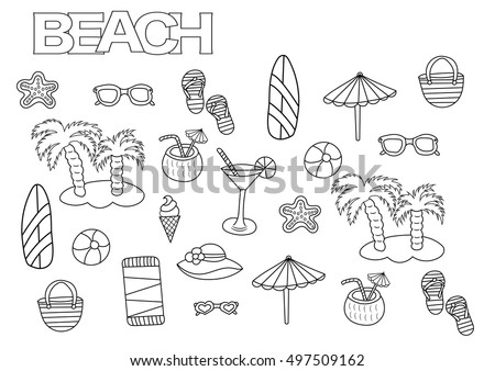 Hand Drawn Beach Set Coloring Book Page Template Outline Doodle Vector Illustration