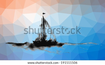 Hand drawn beach with palm trees and boat - stock vector