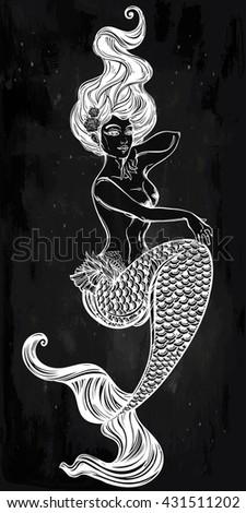 Hand drawn beautiful artwork of beautiful mermaid. Sea, fantasy, spirituality, mythology, tattoo art, coloring books. Isolated vector illustration. - stock vector