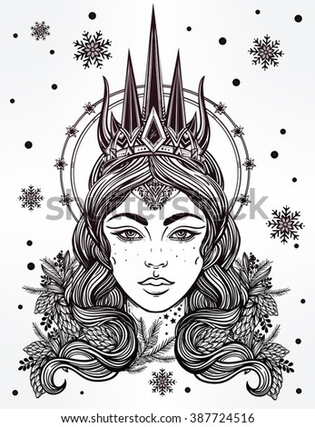 Hand drawn beautiful artwork the Northern Queen portrait. Winter, fantasy, spirituality, tarot, occultism, tattoo art, coloring books. Isolated vector illustration. - stock vector
