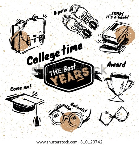 Hand drawn beautiful education sketched elements. Vector illustration. Back to College. Education objects doodle style sketch, college equipment. Hipster elements - stock vector