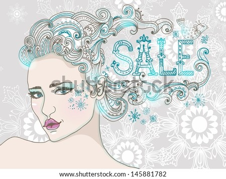 Hand Drawn Beautiful woman over snowflake, beautiful hair and word-SALE, winter sale illustration, VECTOR - stock vector