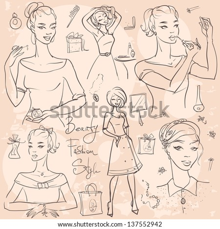 Hand drawn beautiful women,  Fashion and Beauty doodles - stock vector