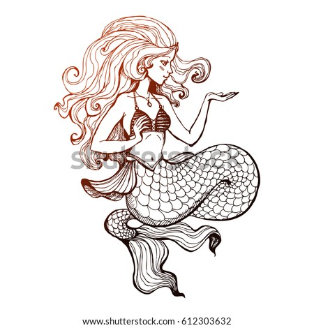 Mermaid Drawing Stock Images Royalty Free Images Amp Vectors