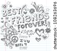 Hand-Drawn Best Friends Forever Love & Hearts Sketchy Back to School Style Notebook Doodles Design Elements on Lined Sketchbook Paper Background- Vector Illustration - stock photo