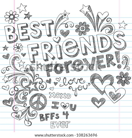 Hand-Drawn Best Friends Forever Love & Hearts Sketchy Back to School Style Notebook Doodles Design Elements on Lined Sketchbook Paper Background- Vector Illustration - stock vector