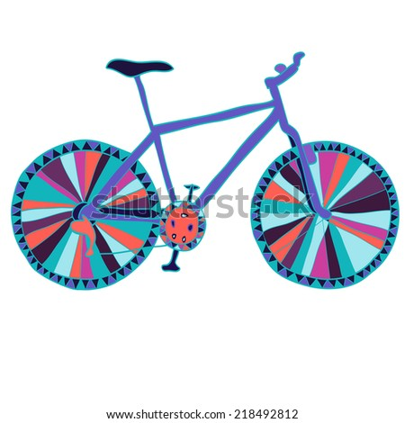 Hand drawn bicycle with colorful ornament. Isolated on white. Vector illustration. - stock vector
