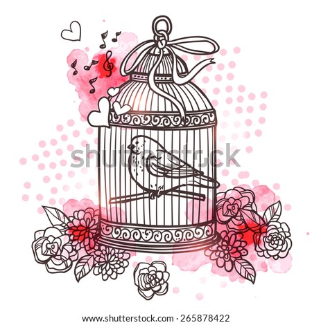 Hand drawn bird closed in cage with flowers and heart symbols vector illustration - stock vector