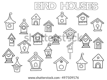 Hand drawn bird houses set. Coloring book page template.  Outline doodle vector illustration.