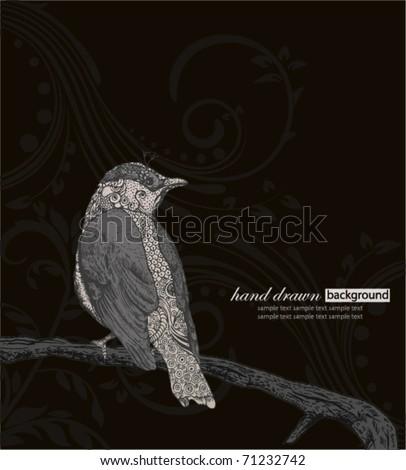Hand Drawn Bird on Branch. - stock vector