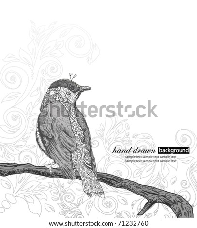 Hand Drawn Bird on Branch. - stock vector