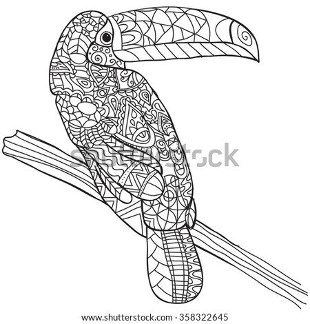 Hand Drawn Bird Toucan . Isolated On Transparent Background. Anti Stress Coloring  Page Vector Monochrome