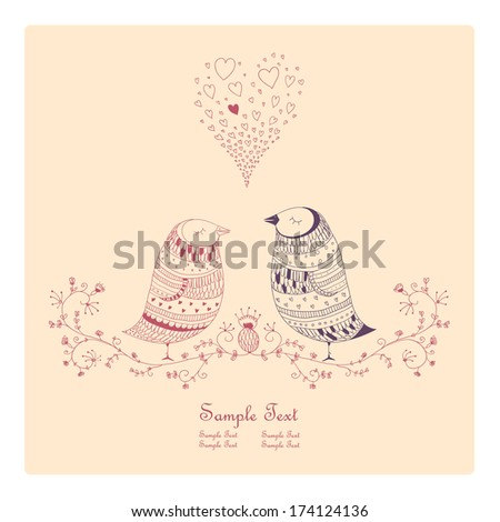 Hand drawn birds with floral ornaments - stock vector